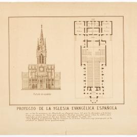 Planta y alzado del proyecto de la iglesia Evangélica Española, Madrid