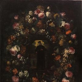 Guirnalda de flores con San Felipe Neri