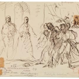 Los Reyes Católicos recibiendo a los cautivos tras la toma de Ronda / Grupo de soldados agitados