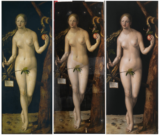 <p><em>Eve</em>, prior to restoration, during and after. Particularly notable is the flesh tone of the figure, which is due to oxidised varnishes, alongside the delicate, pearly pink coloring of the figure after restoration. Also evident is the contrast with the ground, which is of a more transparent, silvery tone. The holes used to insert cross-bars in the past are also visible. These were inserted through the paint surface, literally splitting the preparatory layer and paint surface</p>