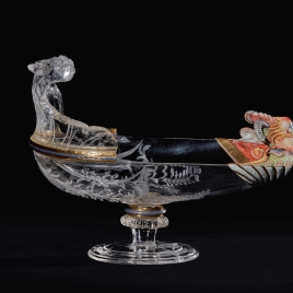 Rock crystal gondola with an enamelled mask on the prow