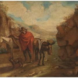 Paisaje con un caminante y caballerías