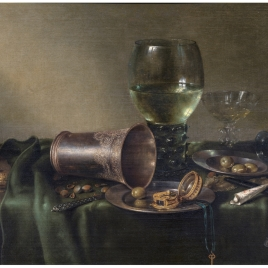 Still Life with a silver beaker and a clock