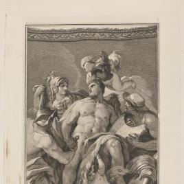 Mercurio, Palas y Vulcano suministran a Hércules armas y valor