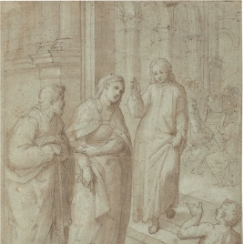 The Youthful Christ Leaving the Temple after his Dispute with the Doctors; Accompanied by the Virgin Mary and St. Joseph