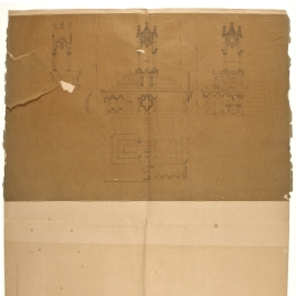 Calco del tabernáculo para el altar de la Catedral de Oviedo con cotas