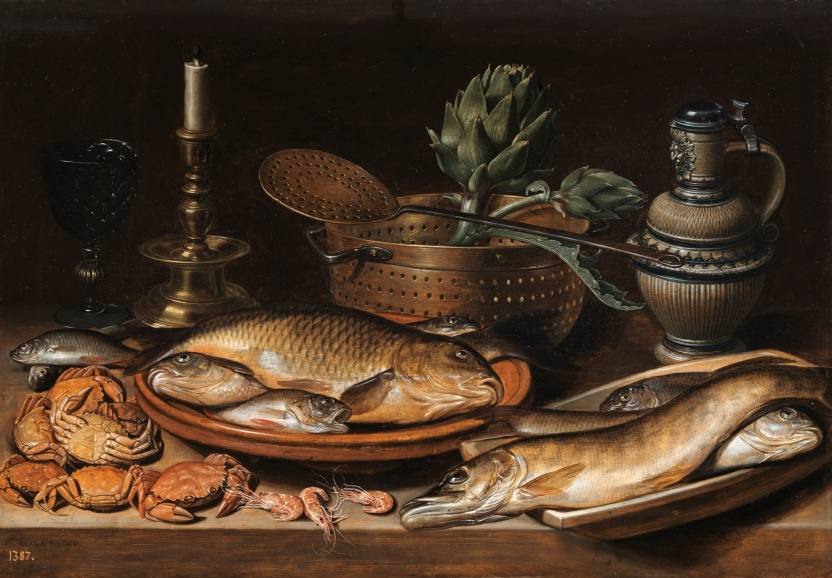 Still Life with fish, a candle, artichokes, crab and prawns