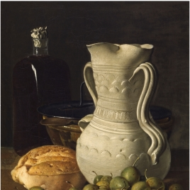 Still Life with Small Pears, Bread, Flask, Bowl and Dry Leaves