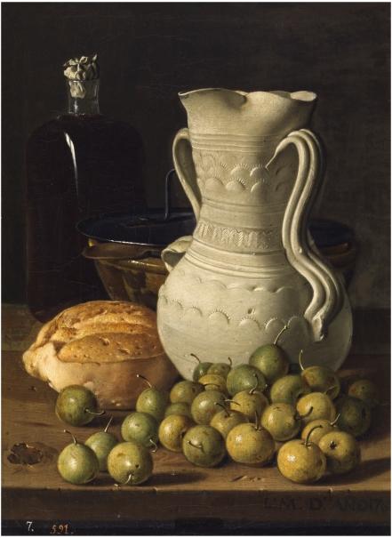 Bodegón con peritas, pan, alcarraza, cuenco y frasca