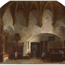 Interior de la sacristía menor en la catedral de Ávila. Salida de la misa mayor