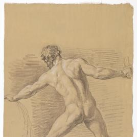 Estudio de desnudo masculino de espaldas empuñando una espada y un escudo