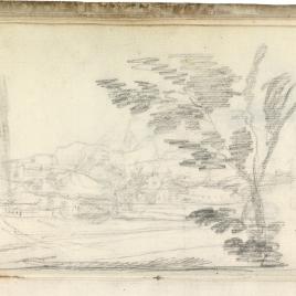 Paisaje con río y casas. Vista de madrid en las proximidades del Manzanares (?)