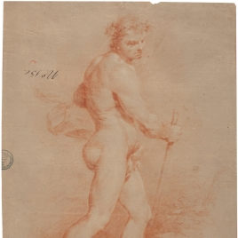 Life study of a standing man with a staff
