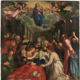 The Death of the Virgin (centre); The Birth of the Virgin (left); The Presentation of the Virgin (right)