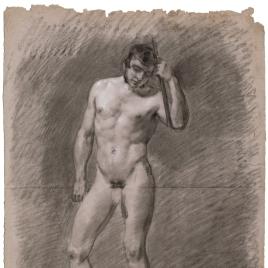 Desnudo masculino con la mano izquierda en la cabeza