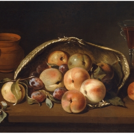 Basket with Peaches and Plums