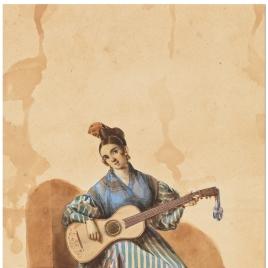 Sevillana cantando y tocando la guitarra