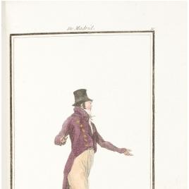 Currutaco con pantalón ancho, media bota, y sombrero cónico, de Madrid