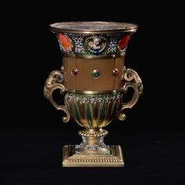 Square-footed jasper cup with cameos