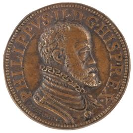 Felipe II - Dos manos que uncen un yugo sobre el orbe