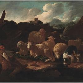 Rebaño de carneros con su pastor