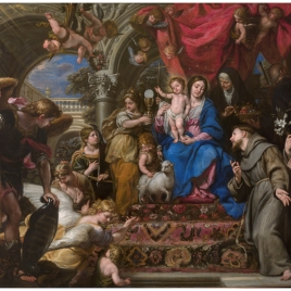The Virgin and Child between the Theological Virtues and Saints