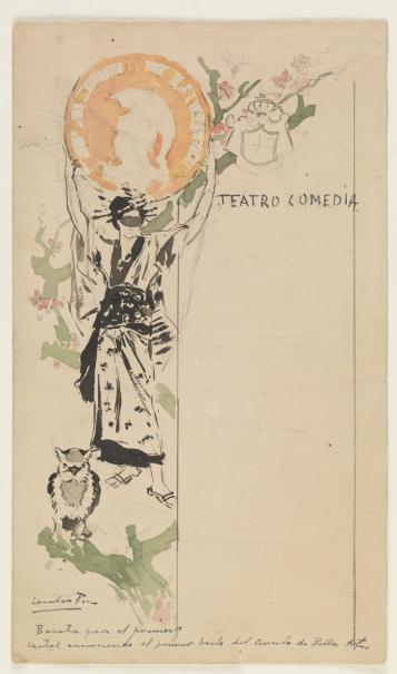 Cartel del primer baile de máscaras del Círculo de Bellas Artes (boceto)