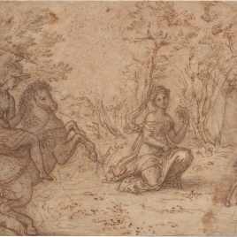 Huntsman on Horseback Chasing a Stag in a Wood, Watched by a Maiden
