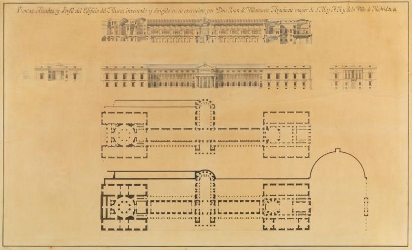 Plantas, alzados y perfil del edificio del Museo del Prado