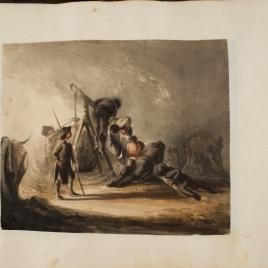 Hombres trabajando subidos a una polea