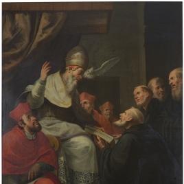 Alejandro IV entregando la Bula de Unión a la Orden de Ermitaños de San Agustín