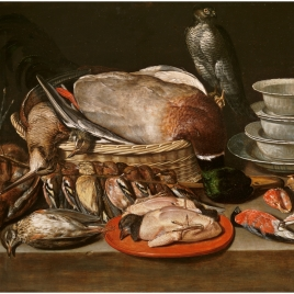 Still Life with a Sparrow Hawk, Fowl, Porcelain and Shells