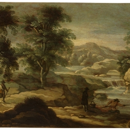 Paisaje con pescador y caminantes
