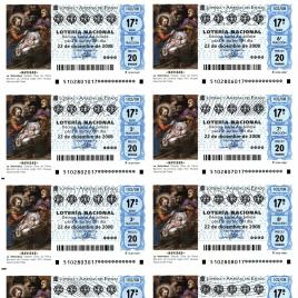 Capilla de billete de Lotería Nacional para el sorteo de 22 de diciembre de 2008