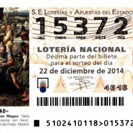 Billete de Lotería Nacional para el sorteo de 22 de diciembre de 2014