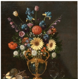 Still Life with Vase of Flowers and a Puppy