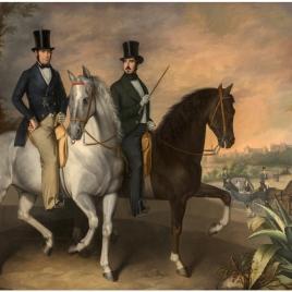 El conde de Pinohermoso y el marqués de Molins, a caballo, en las afueras de Sevilla