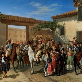 Patio de la cuadra de caballos de la plaza de toros, antes de una corrida