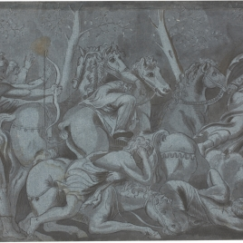 Apolo disparando sus flechas a los hijos de Niobe