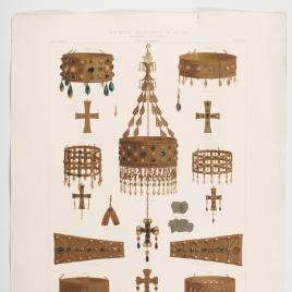 Coronas y cruces visigodas, con la corona de Recesvinto del Tesoro de Guarrazar encontrado en el término de Guadamur