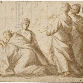 Tres figuras femeninas acompañan a un rey