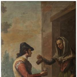 Una anciana sirviendo un vaso de vino a un joven