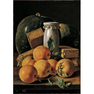 """Still Life with Oranges, Watermelons, Honey Pot and Boxes of Sweets"""