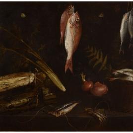 Bodegón con pescados y verduras