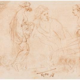 Tres estudios de figura femenina y otro de muchacho / Friso decorativo y rasguño