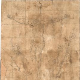 Cristo crucificado, con San Esteban y San Agustín (¿?)