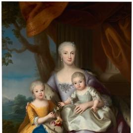 María Antonia Fernanda, hija de Felipe V, y sus dos hijas