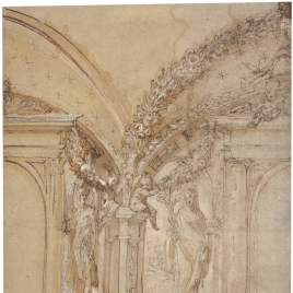 Architectural Elevation of an Interior, with Two Clerestory Windows and Part of a Vaulted Ceiling, Putti Supporting Swags of Fruit and Effigies of St. Michael and the Annunciate Virgin