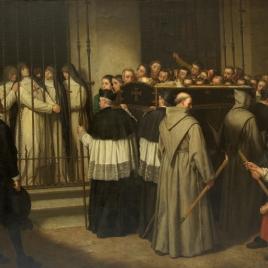 Sor Marcela de San Félix, monja de las Trinitarias Descalzas de Madrid, viendo pasar el entierro de Lope de Vega, su padre