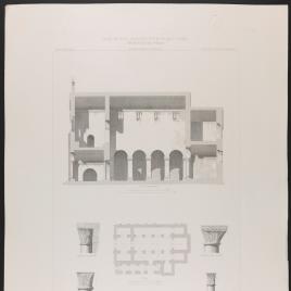 Planta, sección y detalles de San Salvador de Valdediós en Oviedo